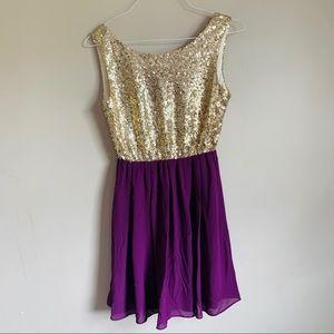 Gold sequin purple Chiffon sleeveless dress Anthro